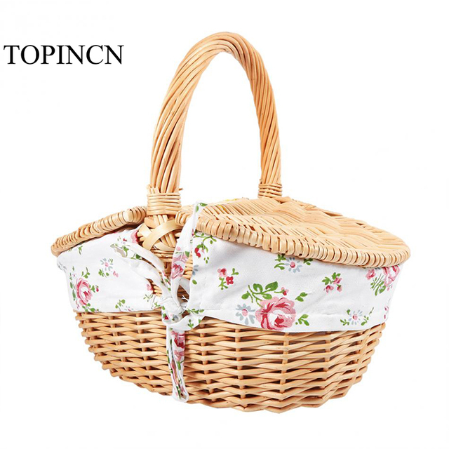Kitchen Vegetable Fruit Food Basket Wicker Outdoor Camping Picnic Ping Hamper With Lid Handle Home Storage Baskets