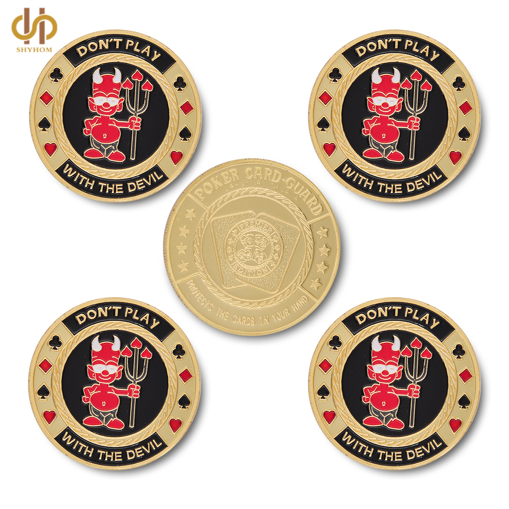 5PCS Gold Poker Card Guard Poker Chip Dont Play with The Devil Casino Collectible With Coin Capsule