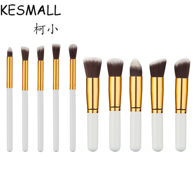KESMALL 10Pcs Professional Makeup Brushes Set White Handle Make up Tools Kit Foundation Powder Blusher Facial Cheek Brush CO431 kesmall 10pcs professional makeup brushes set facial eyebrow eyeshadow powder foundation brush cosmetics make up tools co430