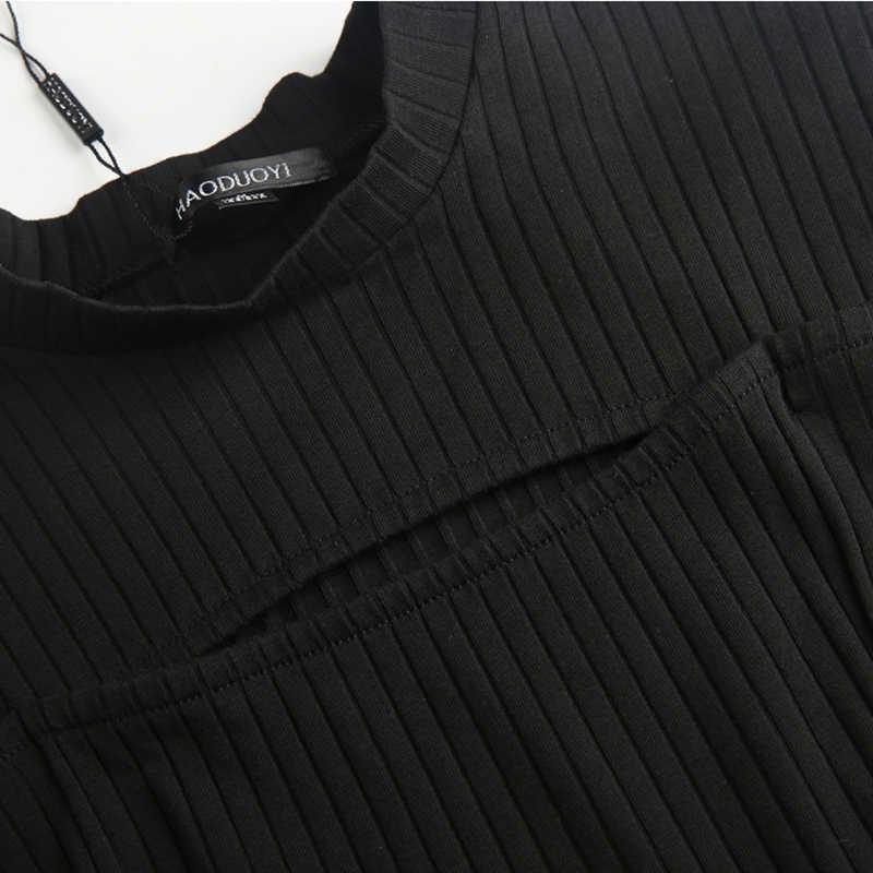 HDY Haoduoyi бренд 2019 женские черные/бордовые сексуальные футболки макет шеи вырезные повседневные топы женские с длинным рукавом модные футболки леди