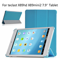 Luxo Tri-Fold Ultra Slim Magnetic Folio Stand Holder PU LEATHER Tampa Do caso Para Teclast X89HD X89 HD X89 X89Mini2 Mini2 7.9''
