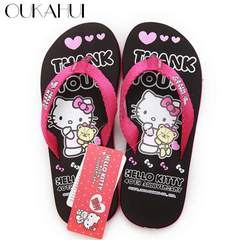2d0a7d0b0 Oukahui Hello Kitty Cartoon New women flip flops beach Leisure Lovely home  Sandals Woman Shoes Hello