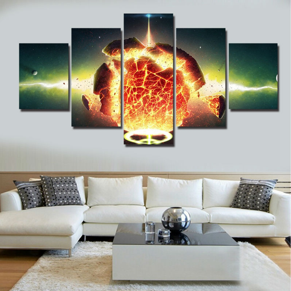 Planets Wall Art Us 5 92 40 Off Canvas Painting Wall Art Home Decor Frame 5 Pieces Milky Way Planets Explosion Landscape Living Room Hd Print Landscape Pictures In