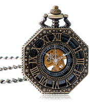 Exquisite Women Hand Winding Roman Numerals Octagon Shape Steampunk Cool Trendy Mechanical Pocket Watch Wind Up
