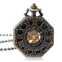 Exquisite Women Hand Winding Roman Numerals Octagon Shape Steampunk Cool Trendy Mechanical Pocket Watch Wind Up