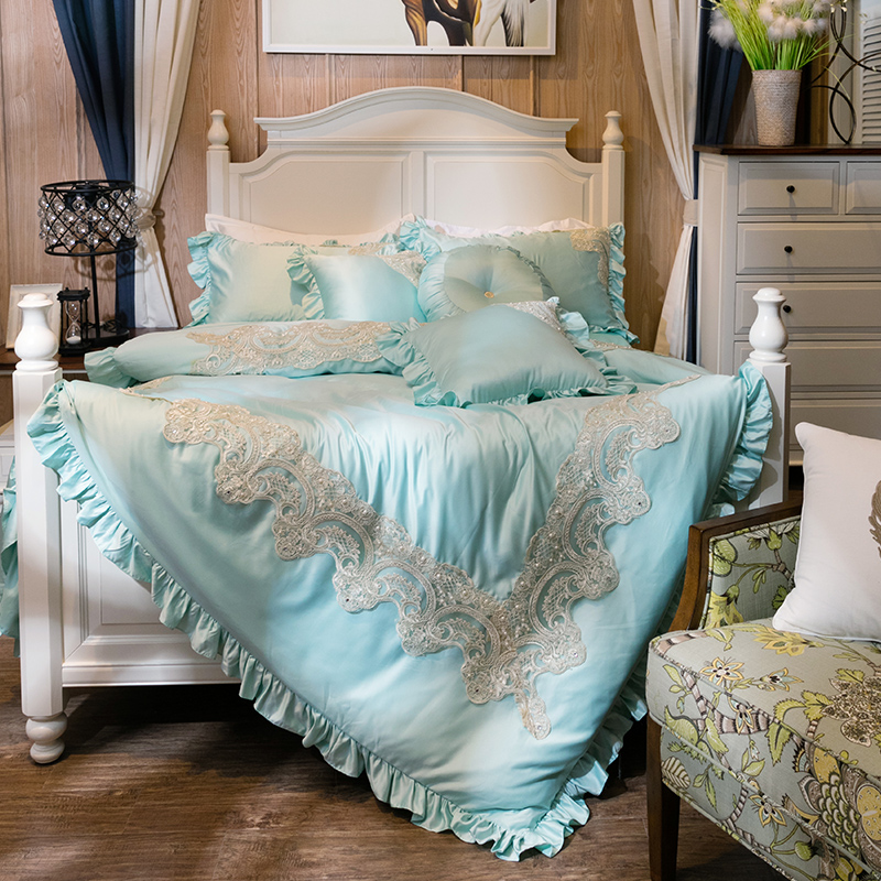blue french lace bedding set queen king100 egyptian cotton satin bed sheets princess - Queen Bed Sheets