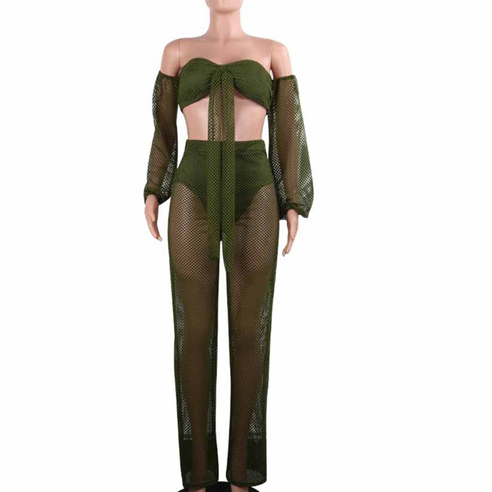 Suspender   Jumpsuit   For Women 2Pcs/Set Sexy Women Beach Hollow Long Sleeve Knotted Tube Top Wide Leg Pants