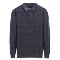 smart casual 100%goat cashmere thick knit men fashion polo collar pullover sweater solid color S 3XL