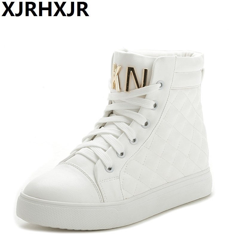XJRHXJR Fashion High Top Sneakers Canvas Shoe Women Casual Shoes White Flat Female Basket Lace Up Solid Trainers Chaussure Femme e lov women casual walking shoes graffiti aries horoscope canvas shoe low top flat oxford shoes for couples lovers