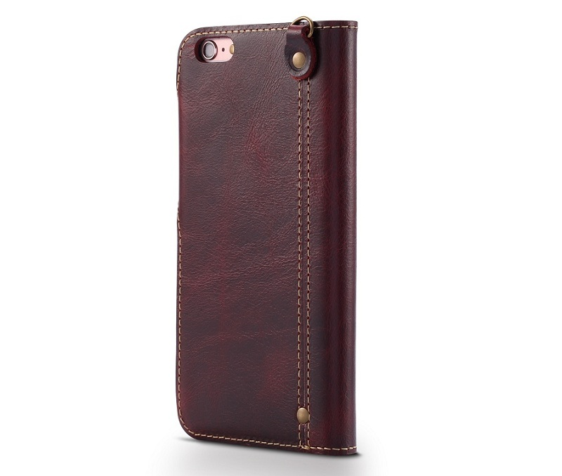 wine red genuine leather flip case for iphone 6 plus luxury cover card wallet phone cases