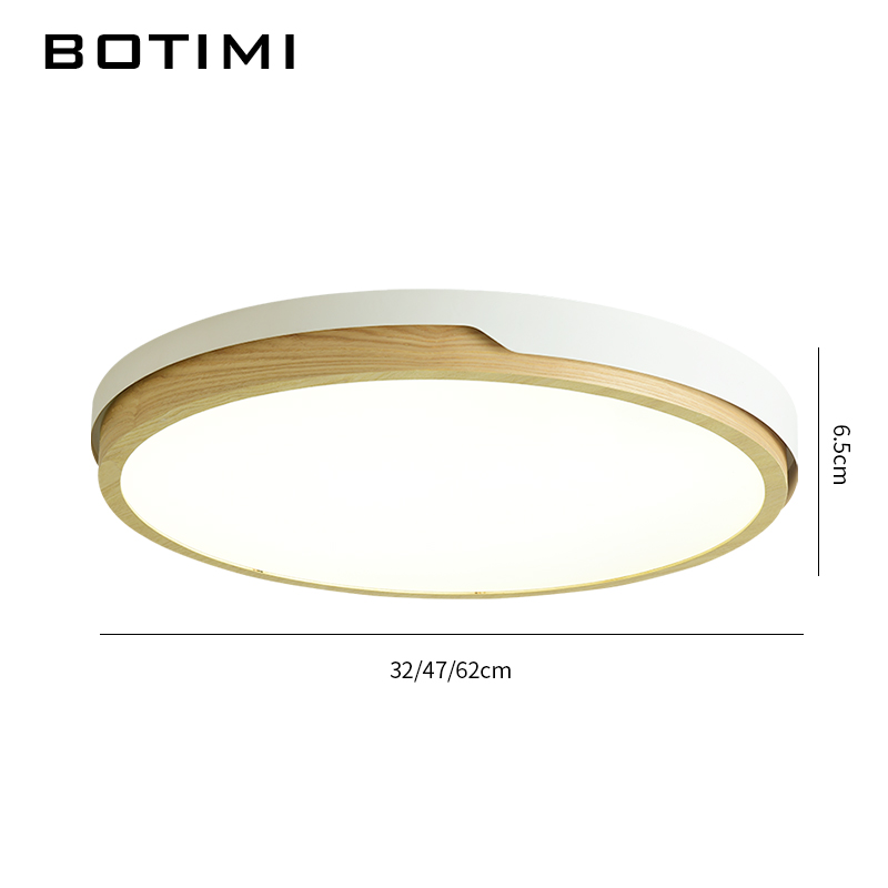 Image 5 - BOTIMI 220V LED White Round Ceiling Lights Nordic Style Surface Mounted Bedroom Lamp Living Room Wooden Kitchen Lighting Fixture-in Ceiling Lights from Lights & Lighting
