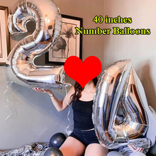 1 PCS Figure Balloons 40 Large Blue Pink Rose Gold Number Balloon Helium Foil Happy Birthday Party New Year Decoration