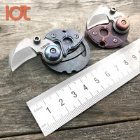 LDT Titanium Handle Coin Claws Mini Key Chain Folding Knives S35VN Blade Outdoor Camping Hunting Survival