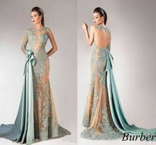 Sexy Sheer Bodice Long Sleeve Mermaid Evening Dresses with Detachable Train Appliqued Lace Dress 2015 Vestido