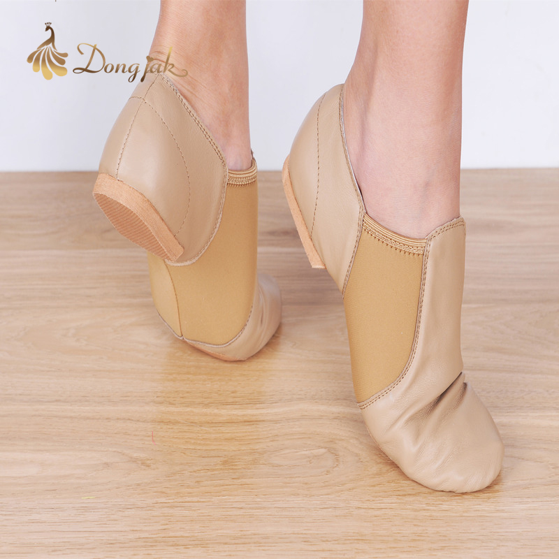 Dongjak Ekte Leather Stretch Jazz Salsa Dansesko For Women Latin Jazz Ballett Sko Lærerens Dance Sandals Exercise Shoe