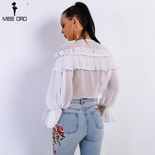 Missord 2018 Spring and Summer Sexy Women's V Neck Ruffles Chiffon Speaker Sleeve  Thin See Through T-shirt Top FT9058