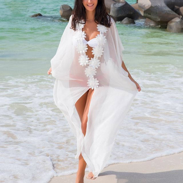 cc77d9a971 Ürün Açıklaması. Basitçe söylemek gerekirse, ben Elbise Plaj Cover up  Dantel Tunik Pareo Mayo Kadınlar 2018 Bikini ...