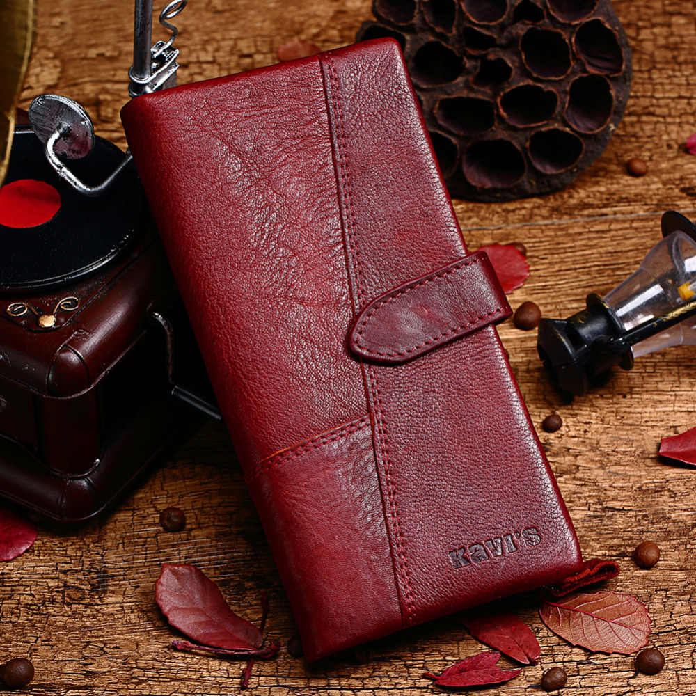 KAVIS Free Engraving Genuine Leather Women Wallet Coin Purse Female Portomonee Lady Long Handy Card Holder Clutch Gift for Name