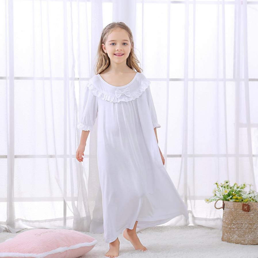 7a8d0389f Verano nuevo bebé niñas Camisón de algodón suave encaje princesa camisón  blanco suelto cuello ...