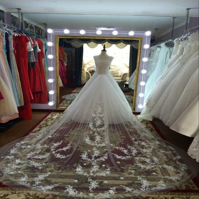 Trailing Bridal Veil Fancy Appliques Wedding Veil Grace Wedding Accessories