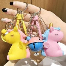 Cartoon Fluffy Rabbit Fur Pom Pom Cute Animal Unicorn Horse Keychain Doll  Bell Key Ring Women. 12 Colors Available 781a83e01085