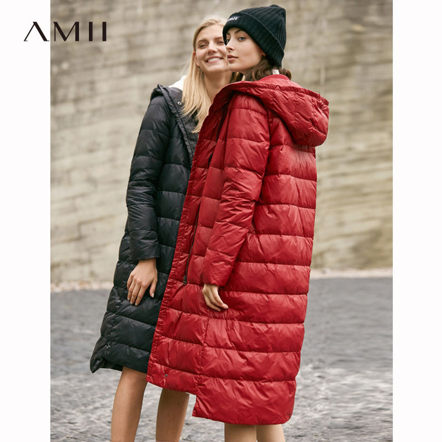 834ce25d1548 Amii Minimalist Women 2018 Winter Solid Long Thick 90% White Duck Down Coat  Hoodies Female Fashion Light Jacket Coats