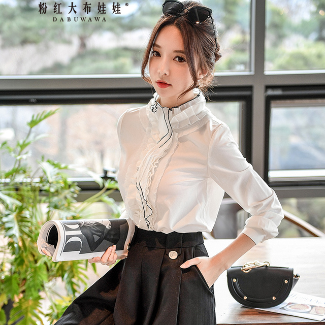 bec837d3ad17cb Dabuwawa Spring 2018 Office Lady White Blouses Lace Collar Sweet Spliced  Shirts Tops