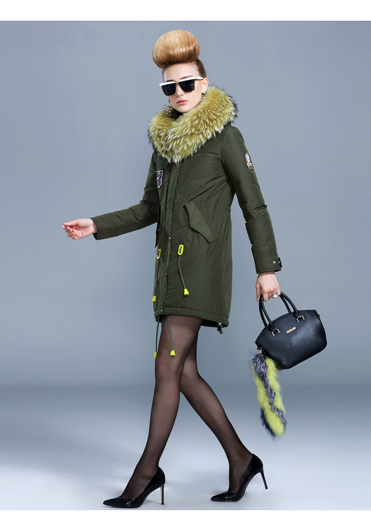 2017 Winter New Arrival Female Medium-long Down Coat Thickening With A White Duck Down Hood Wool Collar Women Coat цены онлайн