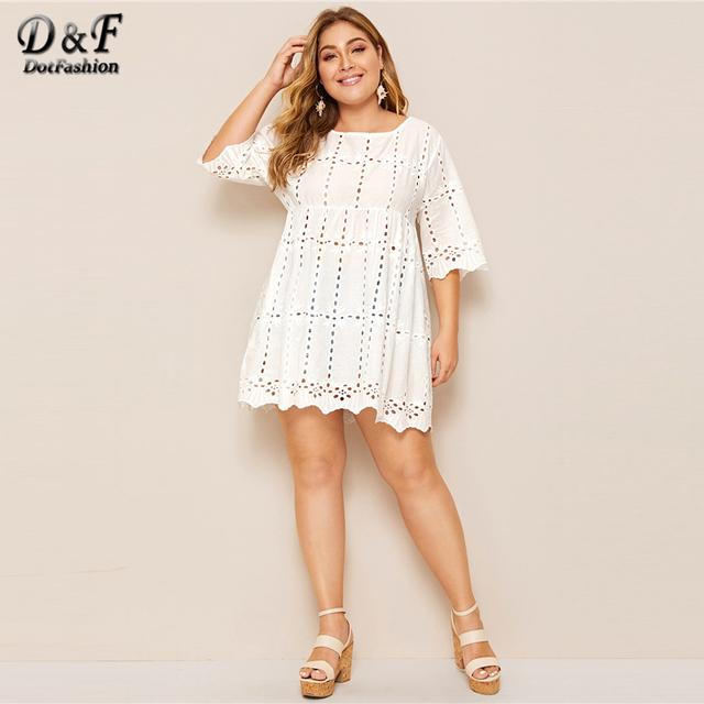 Dotfashion Plus Size White Solid Eyelet Embroidery Babydoll Blouse Women 2019 Boho Summer Half Sleeve Clothing Longline Tops 4
