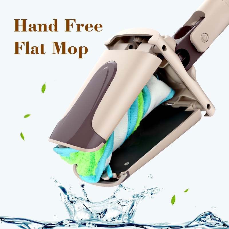 Hand Free Cleaning Flat Mop Suqeezing Water Easy Mop Rotary Dust Mop with 2 Microfiber Cloths, suitable <font><b>for</b></font> Wood Floor Cleaner;