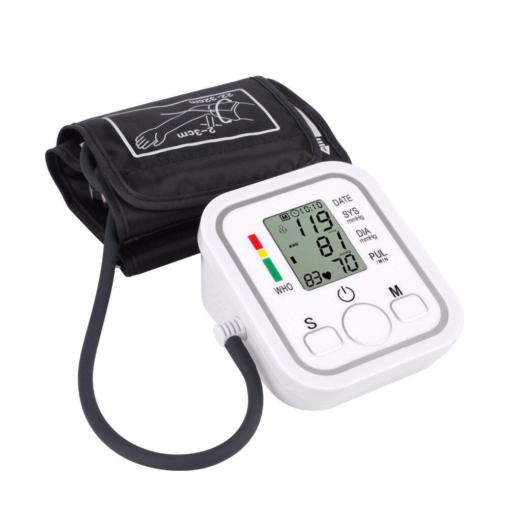 Digital Automático superior Monitor de presión arterial de brazo corazón ritmo de tonómetro de esfigmomanómetros pulsometer