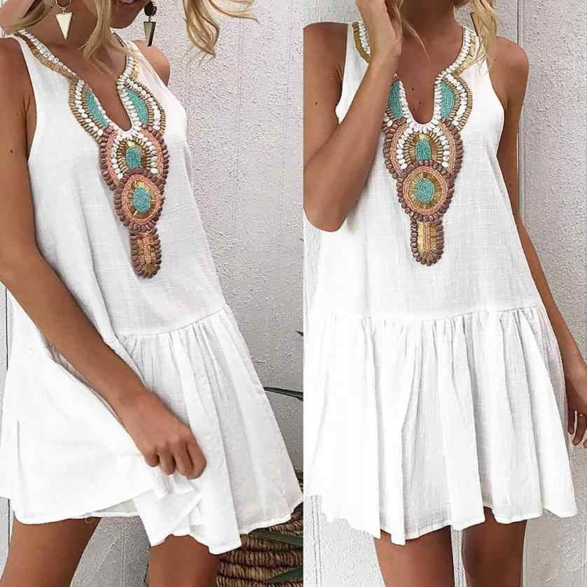 Vestido de kancoold nuevo alta calidad chica de moda de verano vestido retro estampado noche playa Mini vestido sin mangas de las mujeres AP24