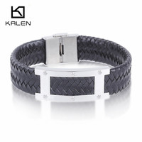 Kalen 21cm High Quality Men's Handmade Braided Leather Bracelet Fashion Stainless Steel Personalised H Charm Bracelet Accessory