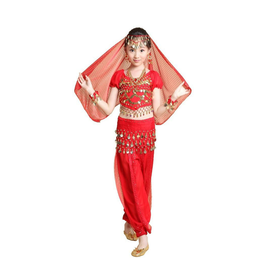 2015 Lovely Kids Belly Dancewear Halloween Costumes Set 4PCS TopPantVeilBelt Bollywood Indian Dance Dress Vestidos S M L XL