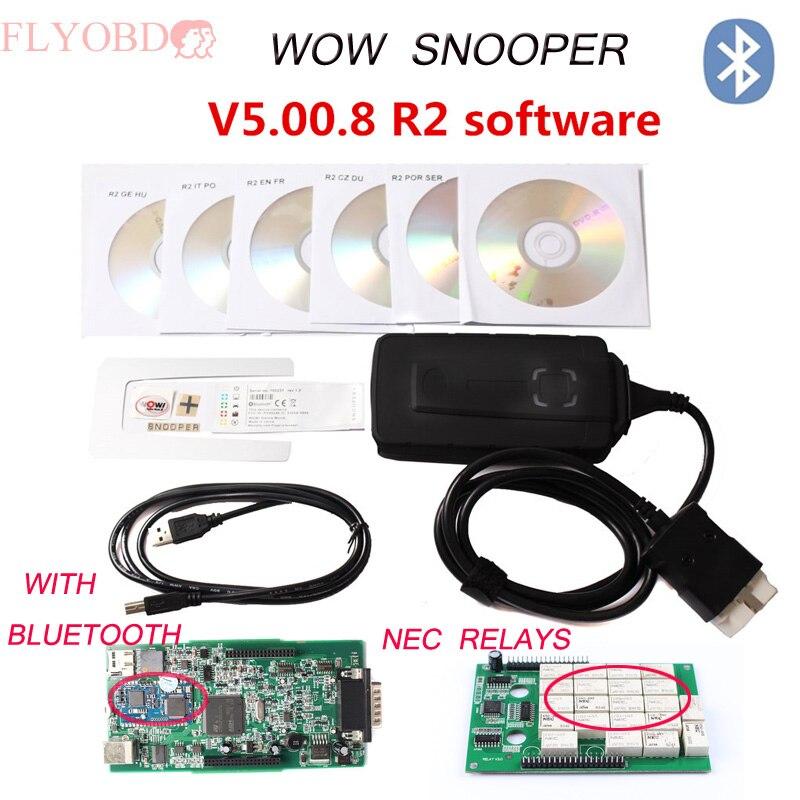 Prix pour Bluetooth WoW SNOOPER V5.008R2 Nouveau TCS CDP Avec LED lumière Câble pour la plupart des Véhicules WoW Snooper mieux que Multidiag pro