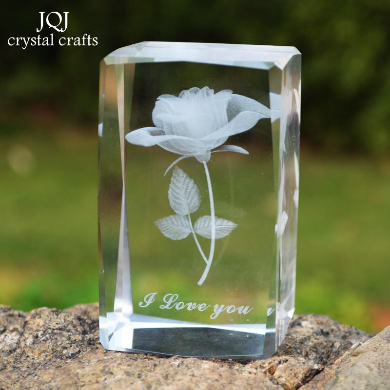 tema de amor rosa cubo de cristal lser d grabado cristal flor adornos regalos decoracin de