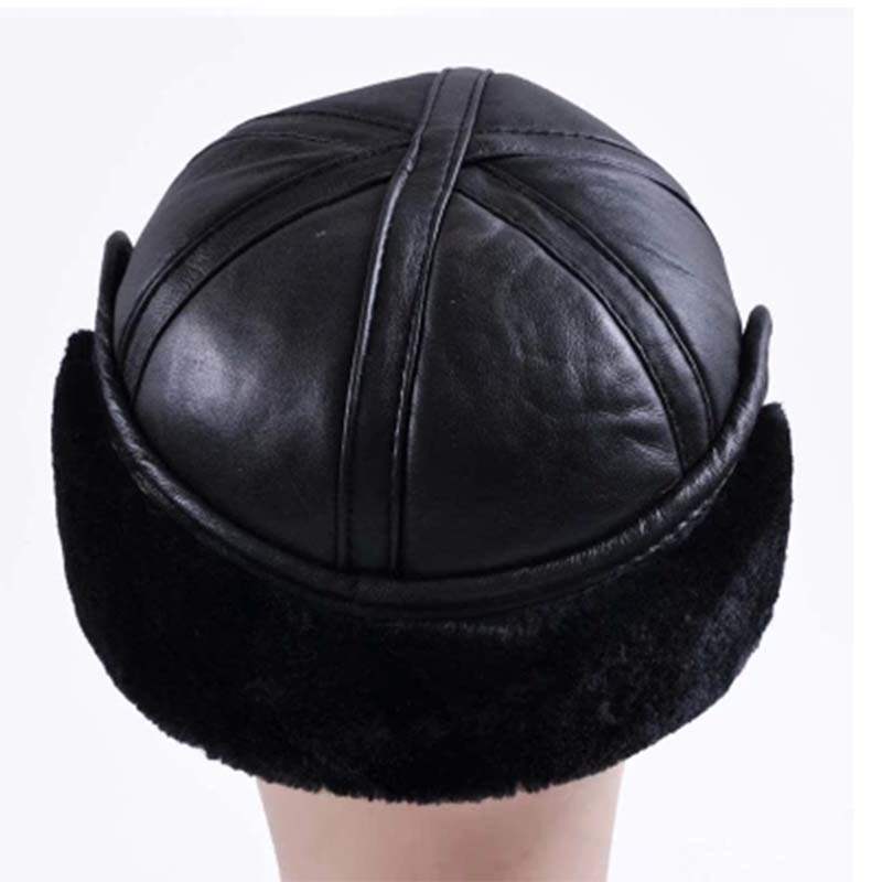 Image 2 - 2018 Winter Autumn Mens Sheepskin Leather Cap Warm Hat Baseball Cap With Ear Flaps Russia Genuine Leather Hats For Men-in Men's Baseball Caps from Apparel Accessories