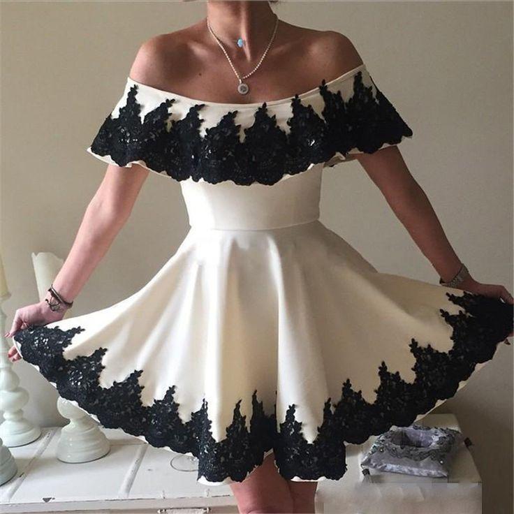 8fc3642f3bda Black 2019 Homecoming Dresses A line Off The Shoulder Short Mini Appliques  Lace Elegant Cocktail Dresses-in Homecoming Dresses from Weddings & Events  on ...