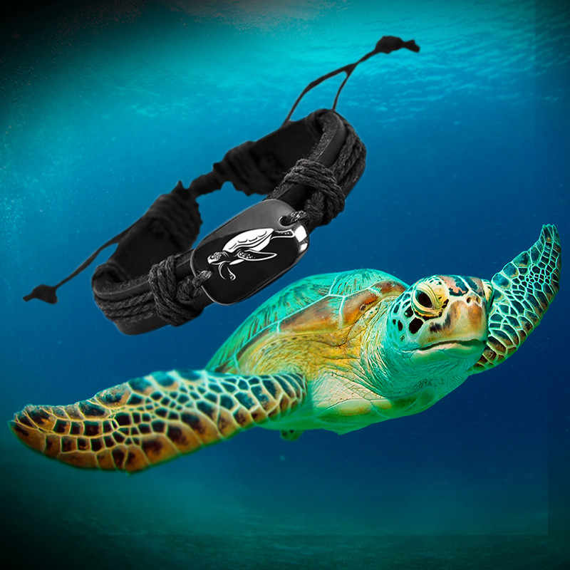 Sea turtle Animal Backer Woven Rope Leather Unisex Bracelet Yak Bone Carved,Fashion bracelet For Women drop shipping