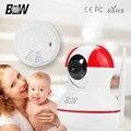 Мини-Камера Wi-Fi 720 P HD Motion Detection Видеонаблюдения Камера + Беспроводной Детектор Дыма Сигнализация Системы Безопасности BW12R
