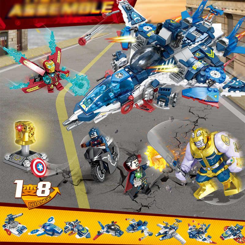 685 шт. DC Marvel's Мстители супер герой Железный человек танос 8 в 1 военный корабль строительные блоки Совместимые Legoing кирпичи игрушки WJ107
