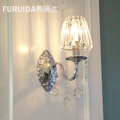 ФОТО Fashion crystal wall lamp bed-lighting modern brief crystal wall lamp crystal wall lamp tv wall