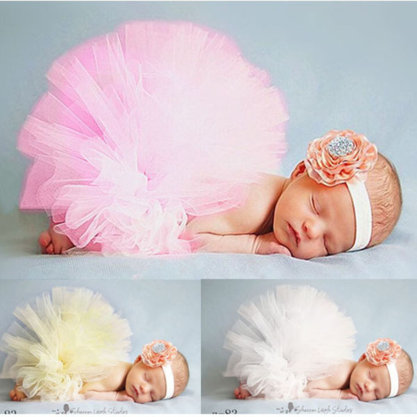 Elegant Couture Tutu Set With Flower Headband Newborn Photography Prop Skirt Costume Birthday Shower Gift 1 Set 3 Colors TS008