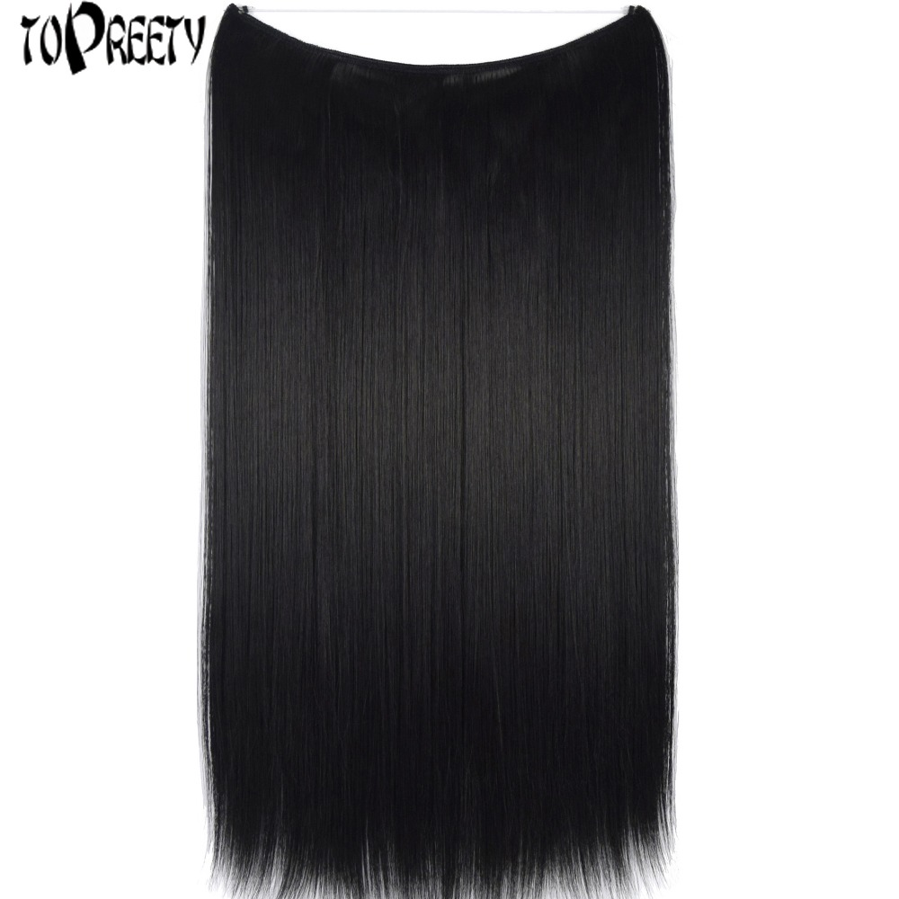 TOPREETY Heat Resistant Synthetic Hair Fiber Silky Straight Elasticity Invisible Wire Halo Hair Extensions 8106