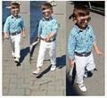 2016 Продажа мальчик одежды костюм с длинными рукавами рубашка + брюки + пояс 3 шт./компл. плед клетчатый дети джентльмен одежда Бесплатно доставка