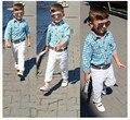 2016 Venda de roupas menino terno longo-manga da camisa + calça + cinto 3 pçs/set manta quadriculada crianças cavalheiro roupas Livre grátis
