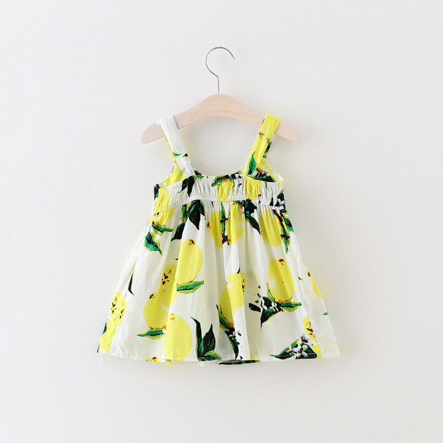 Hot Toddler Kid Baby Girl Lemon Floral Casual Summer Dress Sundress Clothes 0-3T