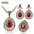 3 Peça Suit Jóias Turco Red Turquesa Brincos E Colar Para As Mulheres Do Casamento Nigeriano Beads Africanos Jóias Conjunto de Cristal