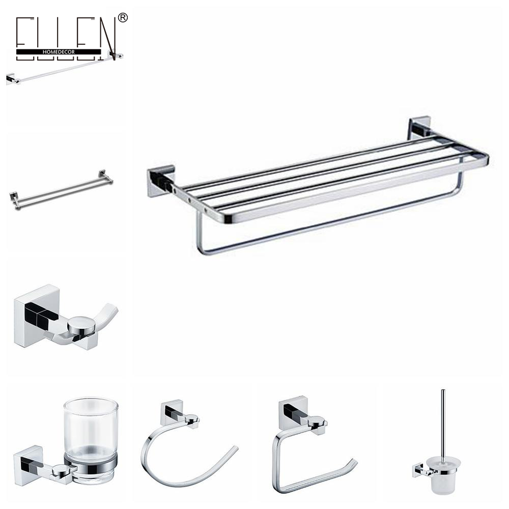 Wall Mounted Bathroom Accessories Set Towel Holder Toilet Paper Holder Robe Hook Chrome Copper