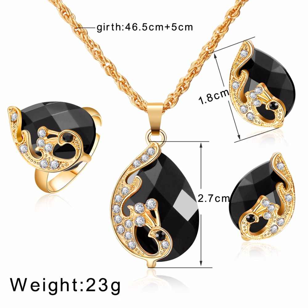 אלגנטי טווס זירקון כלה זהב צבע תכשיטי סטי נשים תליון & שרשרת טבעת עגילי עם טבעי אבנים תכשיטים